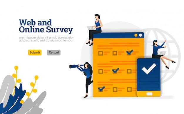 マーケティング、広告およびコンサルタントのベクトルイラストのためのwebおよびオンライン調査