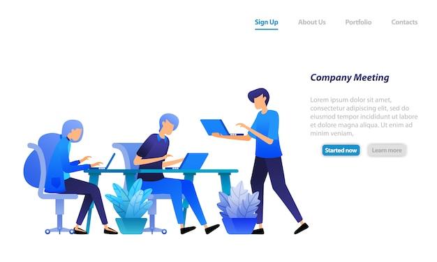 ランディングページのwebテンプレート。会議を始めるために集まる従業員。会社の問題について話し合い、解決策を見つけてください。