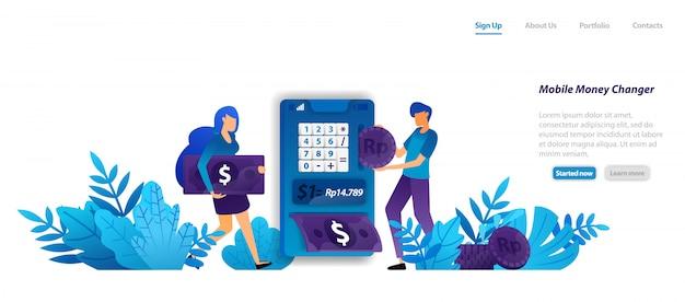 ランディングページのwebテンプレート。簡単にモダンなモバイルマネーチェンジャーアプリのデザイン、等尺性のドルとお金、オンラインバンキングサービスのコンセプト