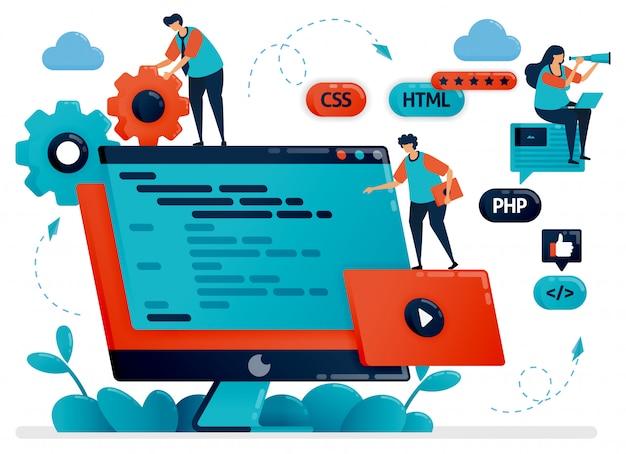 プログラム、web、モニター画面またはデスクトップ上のアプリの設計の図。プログラミングの開発におけるチームワーク。開発プロセスのデバッグ