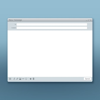送信フォームテンプレートを使用した電子メールメッセージインタフェース。フォームメールページ、ユーザーインターフェースwebパネルの送信