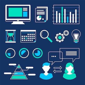 Webデータ分析の概要ベクトルイラストセットのコレクション