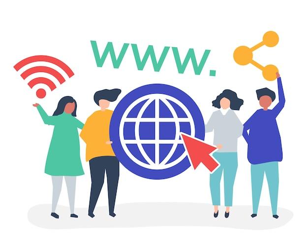 世界のwebアイコンを持つ人々