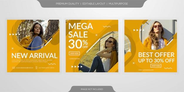 ファッション販売webソーシャルメディアバナーテンプレートセット