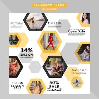 ソーシャルメディアの投稿のためのパズルファッションwebバナー