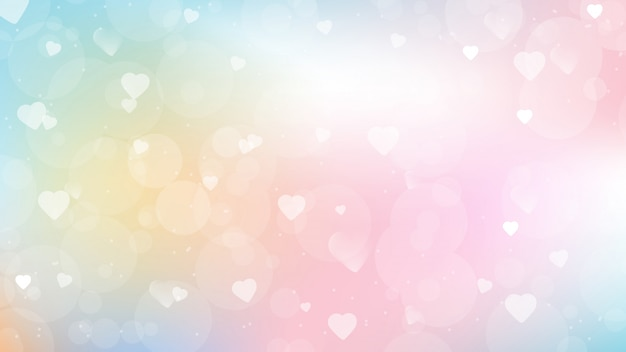 バレンタインデーのwebページの画面サイズの心のボケ味を持つ甘いキャンディグラデーションの背景