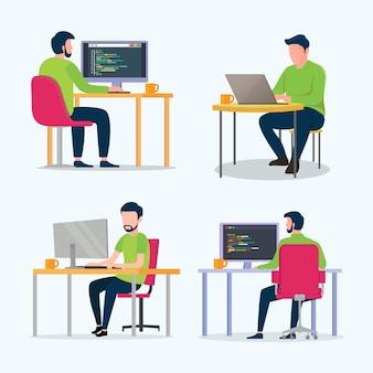 プログラマーはコンピュータ上のwebサイトをコーディングする