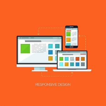 レスポンシブデザインフラットwebインフォグラフィック技術コンセプト