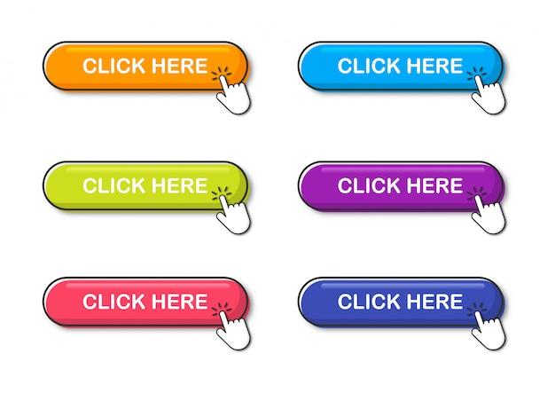 カラフルなボタンセットはこちらをクリックしてください。分離されたアイコンweb