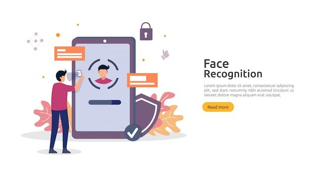 顔認識データのセキュリティ設計。スマートフォンでスキャンする顔認証システム。 webランディングページテンプレート、バナー、プレゼンテーション、プロモーション、印刷媒体。