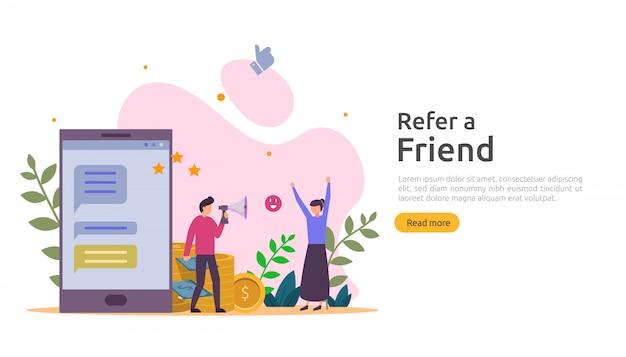 友達戦略とアフィリエイトマーケティングのコンセプトを紹介します。人々は紹介ビジネスのパートナーシップを共有し、お金を稼ぐ。 webランディングページ、バナー、ポスター、印刷メディア用のテンプレート