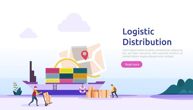 グローバルな物流流通サービスイラストコンセプト。 webランディングページ、プレゼンテーション、社交、ポスター、または印刷メディアの人々のキャラクターを含む世界的な輸入輸出輸出出荷バナー