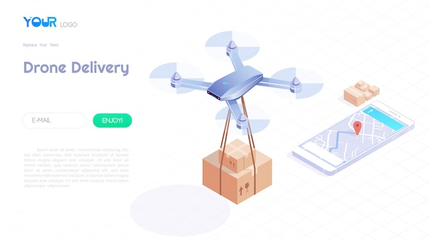 ドローン配信等尺性概念、高速配信、地図上を飛行し、webテンプレートの顧客にパッケージを運ぶ自動クワッドコプター。ベクトルイラスト。