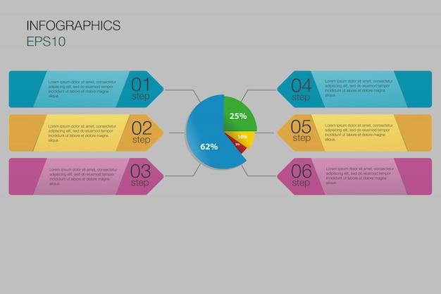 ビジネスグラフ、ステップインフォグラフィック背景。番号バナーテンプレート/タグまたはwebサイトテンプレート。