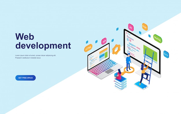 Web開発、プログラミングコンセプトアイソメトリックデザイン