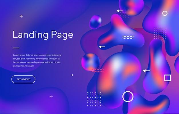 抽象的な液体現代グラフィック要素。動的な色のフォームと波。 webサイトのランディングページのデザイン用テンプレート