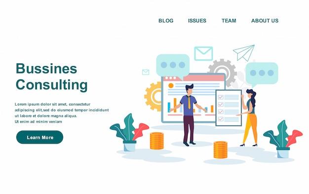 ランディングページのwebテンプレート。ビジネスコンサルティングベクトル図、フラットなデザイン