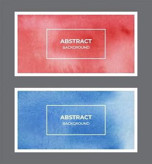 赤と青の水彩webバナー背景コレクション