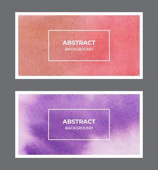 赤と紫の水彩webバナー背景コレクション