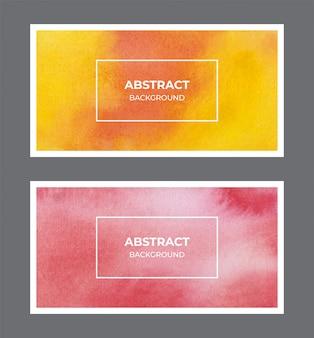 黄色と赤の水彩webバナー背景コレクション