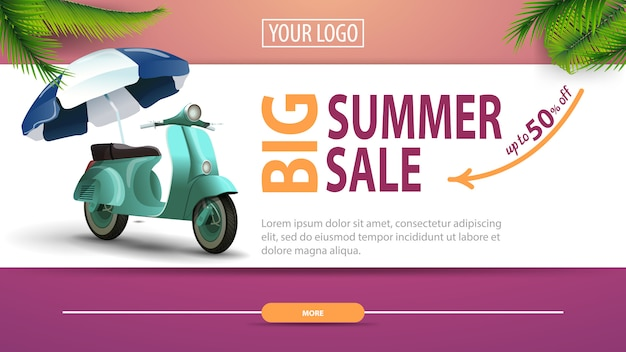 大きな夏のセール、モダンでスタイリッシュなデザインの割引水平webバナー