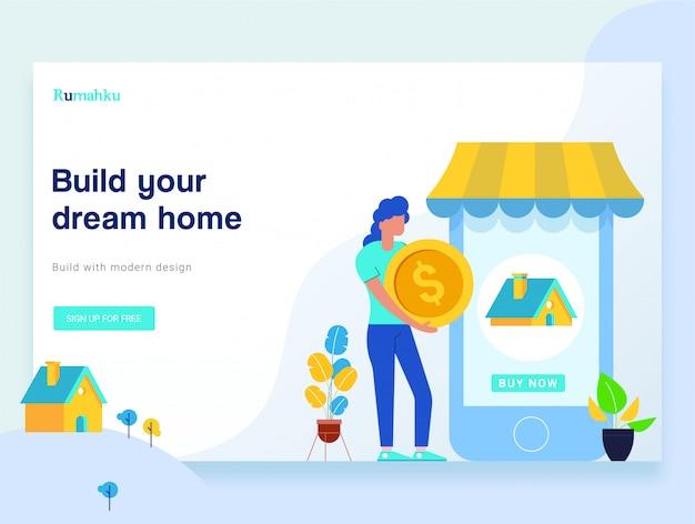 平らな人のキャラクターは、webデザインのための家のテンプレートを購入します。