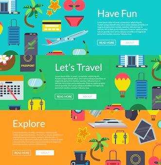 平らな旅行色付きの要素水平webバナーテンプレートイラスト