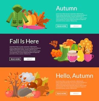 漫画の秋の要素と葉のwebバナーセット