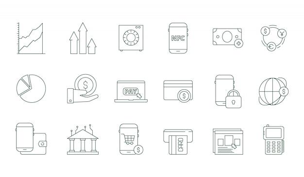 オンライン取引アイコン。インターネットバンキング安全お金web転送と支払い金融ラインシンボルセット