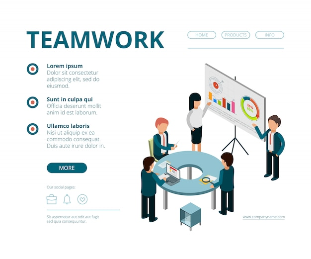 ビジネス会議の着陸。会社のマネージャー財務ディレクター相談管理ベクトルwebページテンプレートベクトル等尺性