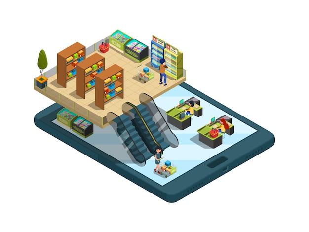 オンラインショッピング。スマートフォンのアイソメ図で仮想webストアのインターネット注文の概念