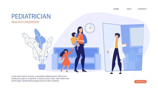 小児科医の健康な子供時代のランディングページwebテンプレート。