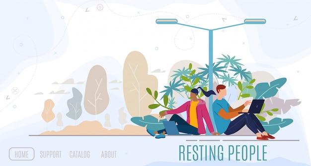 Webサイトテンプレートまたはランディングページの都市公園フラット図で休んでいる人