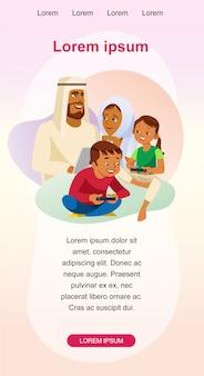 幸せなイスラム教徒の家族レジャーベクトルwebバナー