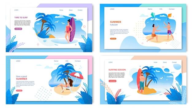 アクティブな夏の熱帯休暇のランディングページwebテンプレートのセット