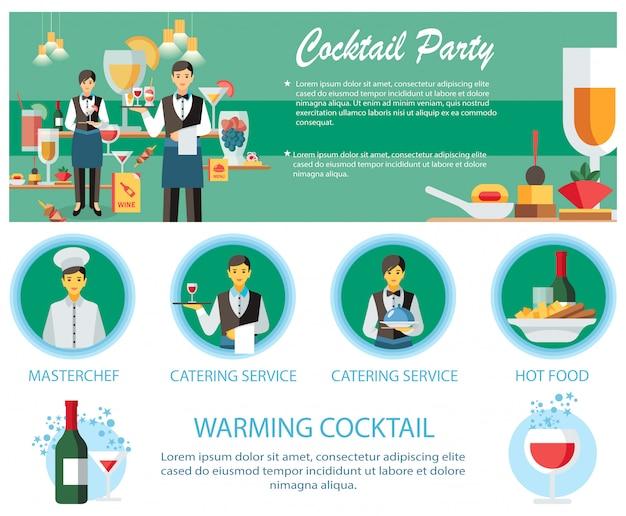 カクテルパーティーのケータリングサービスのwebページのテンプレート