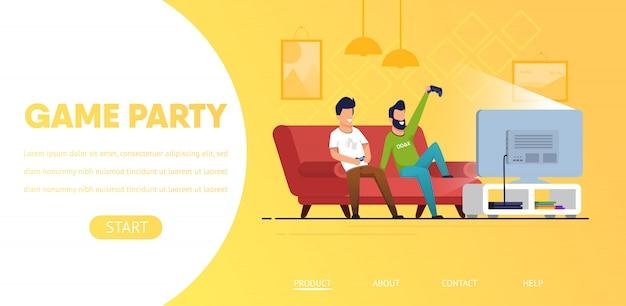 ランディングページのwebテンプレート。自宅でコンピューターのビデオゲームをプレイする男性のカップル