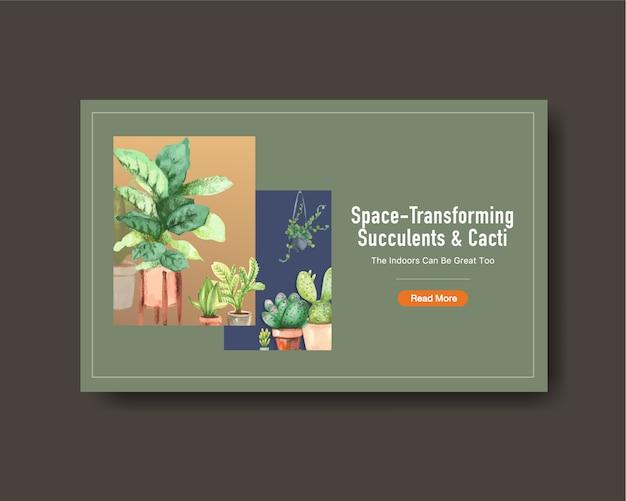 夏の植物デザインのwebバナーテンプレート