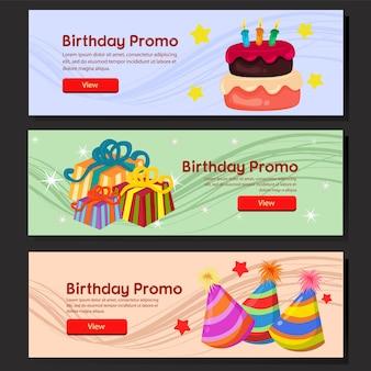 カラフルな誕生日バナーwebセット誕生日ケーキとパーティーハット