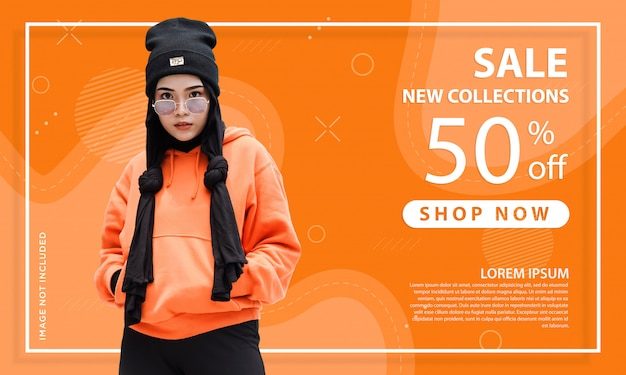 オレンジ色の特別オファー販売webバナーテンプレートの抽象的な形