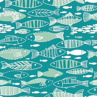 魚と水中のシームレスパターン。シームレスパターンは壁紙、webページの背景に使用できます。