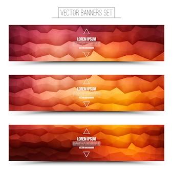 ベクトル抽象的な技術赤オレンジ色のwebバナーセット