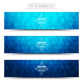 青い幾何学的なwebバナーセット