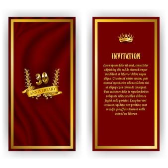 記念日カード、月桂樹の花輪、数の招待状のセット。赤の背景にジュビリーの装飾的な金の紋章。フィリグリー要素、フレーム、境界線、アイコン、web、ビンテージスタイルのページデザインのロゴ