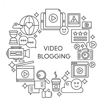ビデオブログ細い線ベクトルの概念図。ストロークアウトラインポスター、web用のテンプレート。