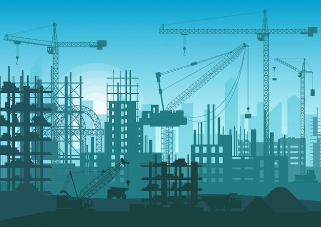 建設中のスカイライン。 webサイトの新しい都市の外観の頭。