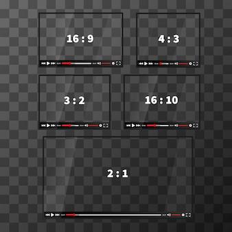 透明な背景にさまざまな比率のビデオの近代的なwebプレーヤーのセット
