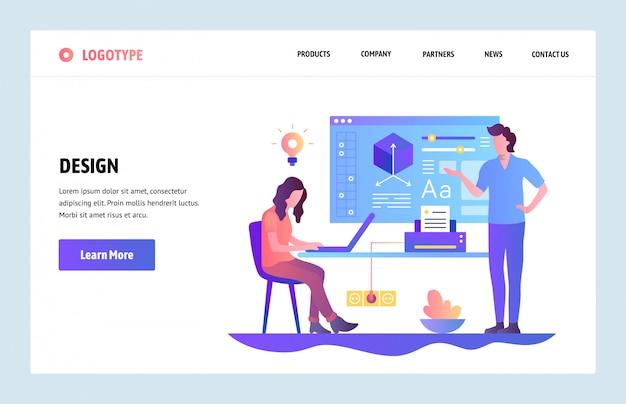 ベクターwebサイトテンプレート。デザイン学習コースオンライン教育と学校ウェブサイトとモバイル開発のためのリンク先ページ。