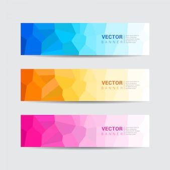 低ポリデザインスタイルの色とりどりのwebバナーのコレクションです。ベクトルテンプレートデザイン。