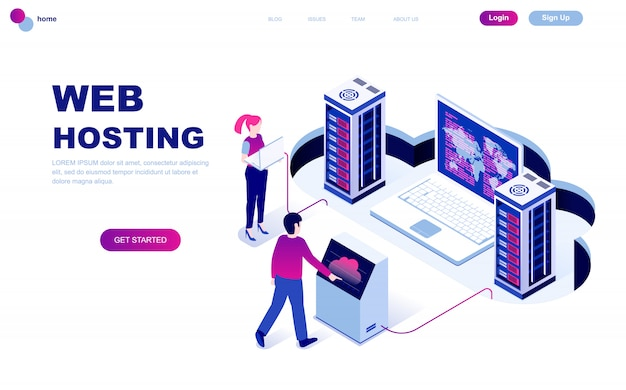 Webホスティングのモダンなフラットデザイン等尺性概念